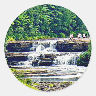 Lower Tahquamenon Falls & People, Michigan Classic Round Sticker