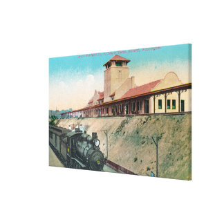 Lower View of Great Northern Depot and Train Canvas Print