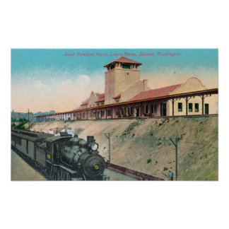 Lower View of Great Northern Depot and Train Poster