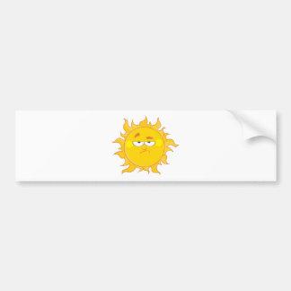 Lowering Sun Mascot Cartoon Character Bumper Sticker