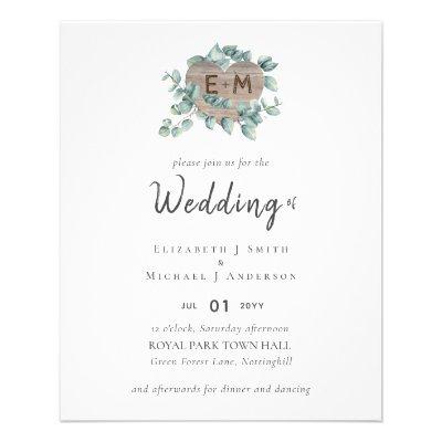 Lowest BUDGET Eucalyptus Greenery Heart Wedding Flyer