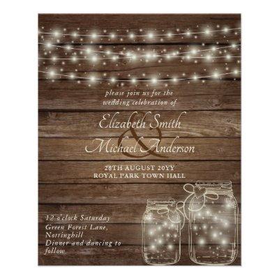 Lowest Budget Rustic mason Jars Wedding Flyer