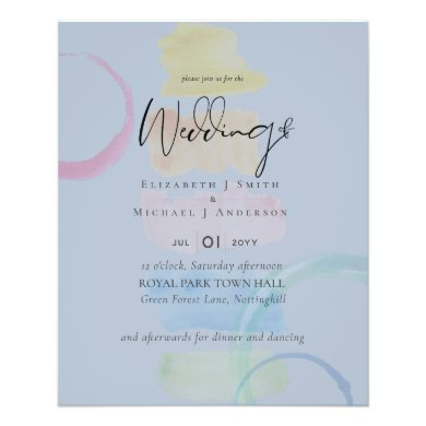 LOWEST PRICED Abstract Dusty Blue Wedding Flyer