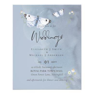LOWEST PRICED Butterflies Dusty Blue Wedding Flyer