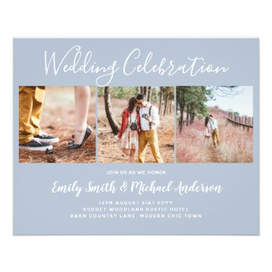 LOWEST PRICED Dusty Blue Photo Collage Wedding Fly Flyer
