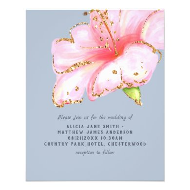 LOWEST PRICED Dusty Blue Pink Floral Wedding Flyer