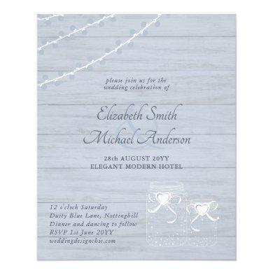 LOWEST PRICED Dusty Blue Rustic Mason Jar Wedding Flyer