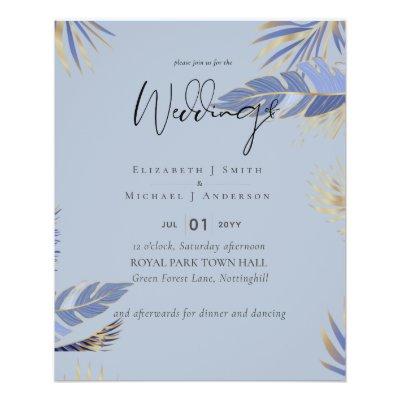 LOWEST PRICED Dusty Blue TROPICAL Leaf Wedding Flyer