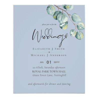LOWEST PRICED Eucalyptus Dusty Blue Wedding Flyer