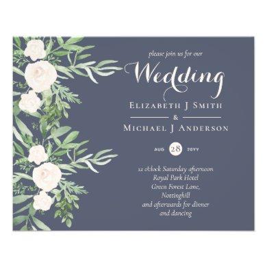 LOWEST PRICED Magnolia Dusty Blue Flower Wedding Flyer