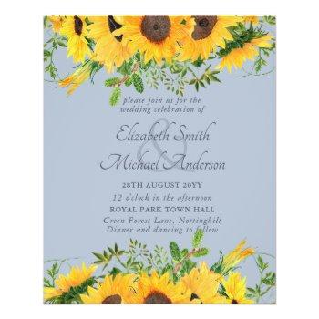 LOWEST PRICED Rustic Sunflower Dusty Blue Wedding  Flyer