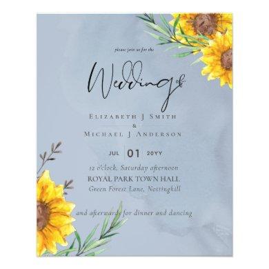 LOWEST PRICED Sunflowers Dusty Blue Wedding Flyer