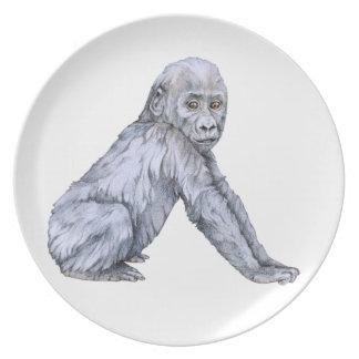 Lowland Gorilla Baby Melamine Plate