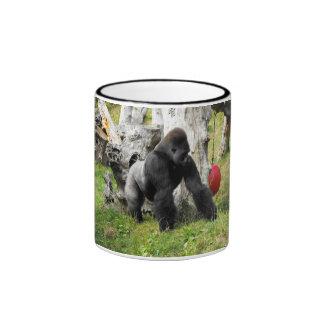 Lowland silverback gorilla walking ringer coffee mug