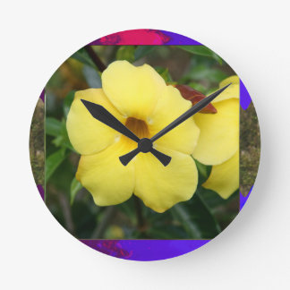 LowPRICE Elegant Gifts ORCHID Flower Yellow Bright Wall Clocks