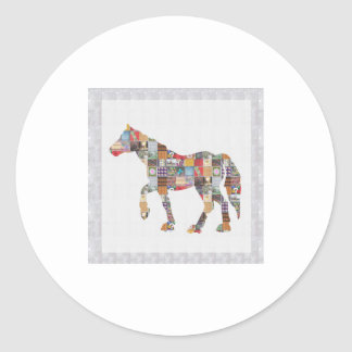 LOWprice GrandSIZE Card HORSE Collage Art NVN482 Classic Round Sticker