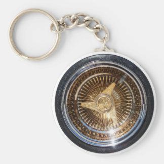 Lowrider Gold Wire Wheels Keychain