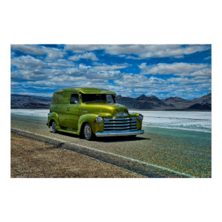 Lowriding loco Chevy at the Bonneville Salt Flats Poster