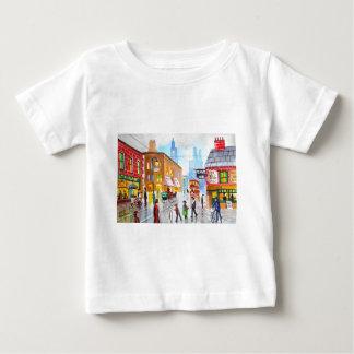 Lowry inspired busy street scene painting tram baby T-Shirt
