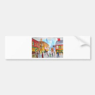 Lowry inspired busy street scene painting tram bumper sticker