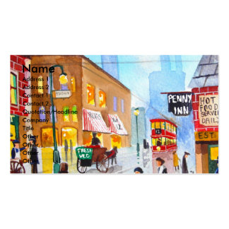 Lowry inspired busy street scene painting tram business card