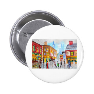 Lowry inspired busy street scene painting tram button