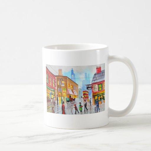 Lowry inspired busy street scene painting tram classic white coffee mug