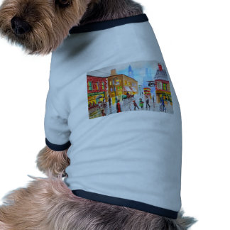 Lowry inspired busy street scene painting tram pet t shirt