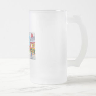 Lowry inspired busy street scene painting tram frosted glass beer mug