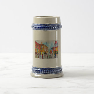 Lowry inspired busy street scene painting tram coffee mugs