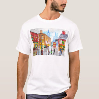 Lowry inspired busy street scene painting tram T-Shirt