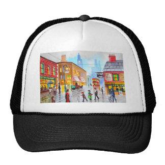 Lowry inspired busy street scene painting tram trucker hat