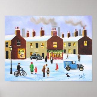 Lowry inspired nostalgic winter street scene poster