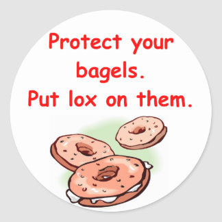 lox and bagels classic round sticker