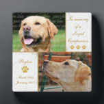 """Loyal Companion Dog Photo Pet Keepsake Plaque<br><div class=""""desc"""">Pay tribute to your beloved canine companion with this Loyal Companion Dog Photo Keepsake photo display plaque. This elegant pet tribute is printed in elegant white and gold colors. Photo templates let you upload 2 photographs of your beloved pet. Keep our sentiment which says In memory of a loyal companion,...</div>"""