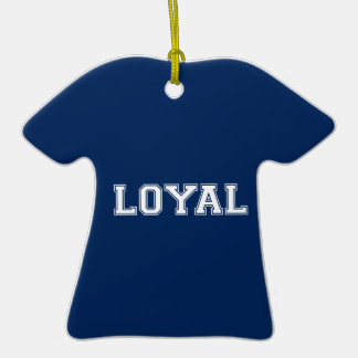 LOYAL in Team Colors Navy Blue and White  Ornaments