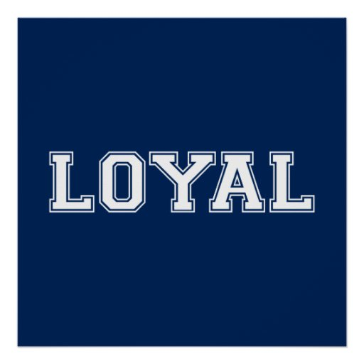 LOYAL in Team Colors Navy Blue and White  Print