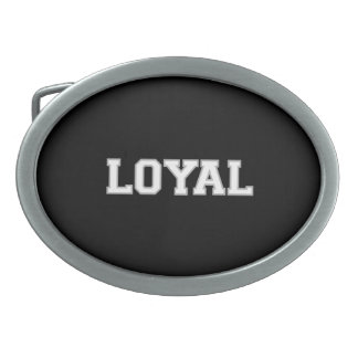 LOYAL in Team Colors White Silver and Black  Oval Belt Buckles