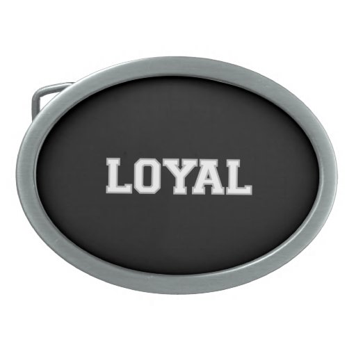 LOYAL in Team Colors White Silver and Black  Oval Belt Buckle