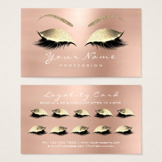 Loyalty Card 10 Makeup Lashes Extension Rose Gold