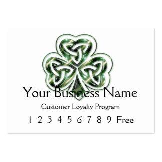 Loyalty Card 2 :: Celtic Shamrock Design 2 Large Business Cards (Pack Of 100)
