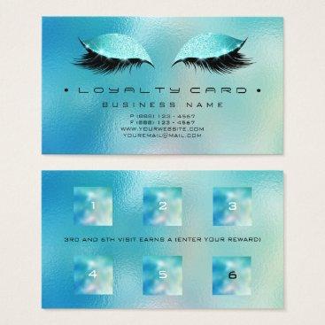 McTiffany Tiffany Aqua Loyalty Card 6 Beauty Salon Makeup Glass Blue