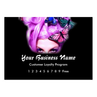 Loyalty Card :: Purple Hair Butterfly Lady Large Business Cards (Pack Of 100)