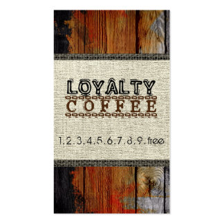 Loyalty Coffee Punch Burlap Wood Look Business Card