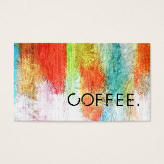 Loyalty Coffee Punch Colorful Modern Wood Look #22 Business Card