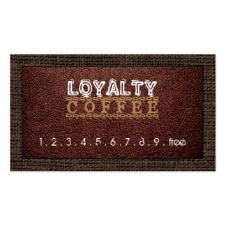 Loyalty Coffee Punch Leather Look Burlap Border #7 Business Card