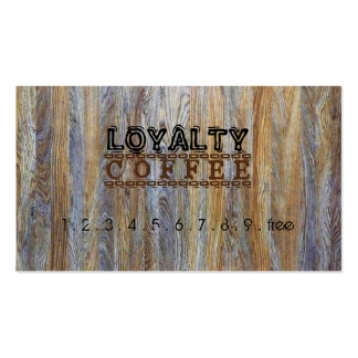 Loyalty Coffee Punch Modern Wood Grain #9 Business Card