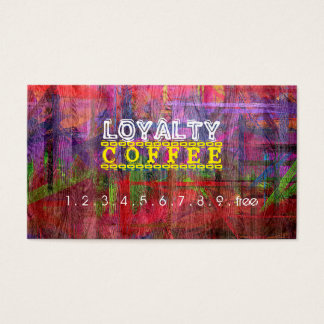 Loyalty Coffee Punch Retro Color Wood #11 Business Card