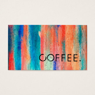 Loyalty Coffee Punch Retro Color Wood Look #11 Business Card