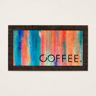 Loyalty Coffee Punch Retro Color Wood Look #8 Business Card